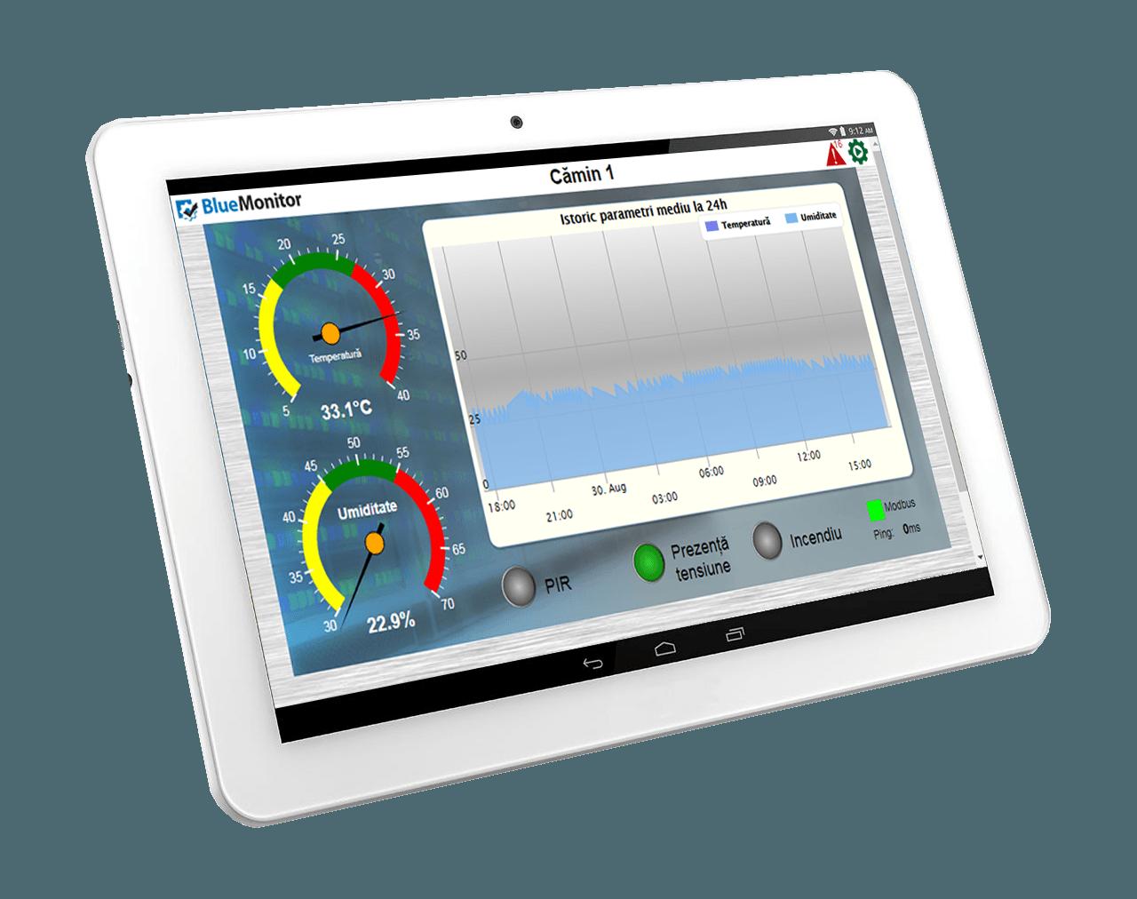 Monitorizare online cu BlueMonitor a parametrilor din camerele tehnice