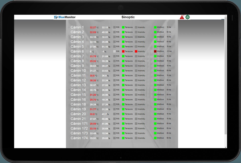Ecran sinoptic BlueMonitor monitorizare online camera serverelor